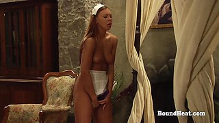 BDSM Lesbian Slave Tied Up And Punished With Whip