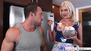 Naughty milf Gigi Allens makes dude lick whipped cream from her jugs
