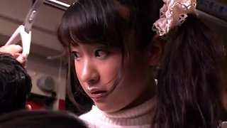 Japanese slut gets crammed in a crowded public bus