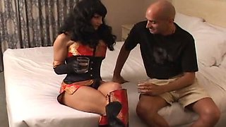 Sporty hooker with well-shaped legs loves fucking men with her strap-on dildo