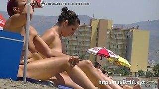 Sexy goddesses on the nude beach voyeur video