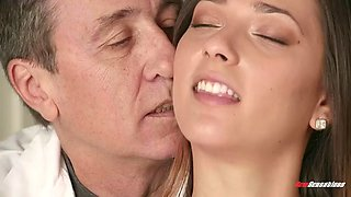 filthy old doctor tricks jaye summers into having sex with him