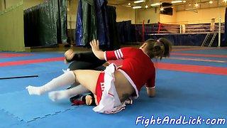 Wrestling dyke pussylicked by cheerleader