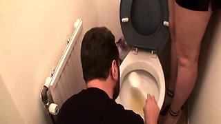 Femdom ladies humiliate slaves at the toilet