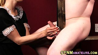 Kinky cfnm blonde sucks