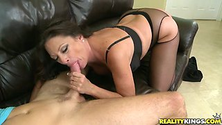 Brunette cougar in pantyhose gets fucked rough on a sofa