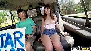 shae celestine shows off her tits in the bus for cash