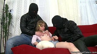 Masked Guys Fuck a Blonde's Sweet Shaved Teen Pussy in Threesome