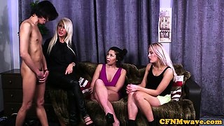 CFNM babes stroking cock until it creams