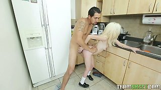 Housewife Piper Perri is fucked hard by horny plumber right in the kitchen