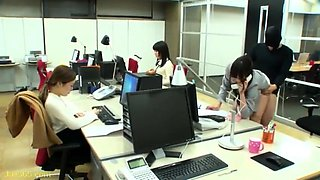 Beautiful Japanese girls enjoying hardcore sex in the office