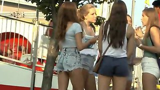 Teens in shorts and their cameltoes