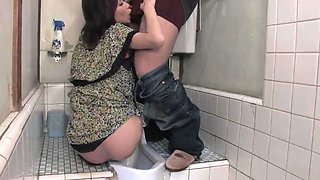 Japanese slut blows dick in the bathroom and swallows