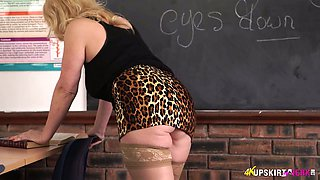 Spoiled teacher Lucy Gresty shows off her fat cunt and ass