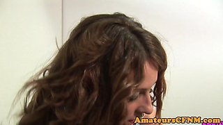 Office babe dominates naked submissive