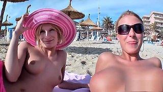 Blonde German milfs enjoy double penetration with strap-on pool side
