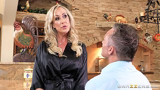 Brandi Love is a hot housewife craving a shag in a kitchen
