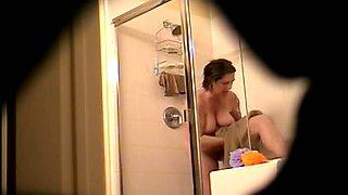 Mature hairy brunette hidden shower cam