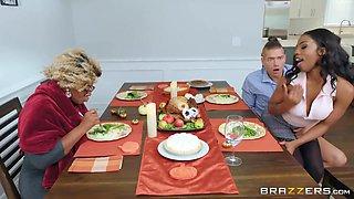 Sarah Banks And Xander Corvus - Ebony Hottie Rides Dick While Enjoying Family Dinner