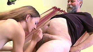 Delightsome youthful sweetie enjoys rear fuck with old lad