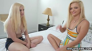 SisLovesMe - Blonde Sisters Fight For Brothers Cock
