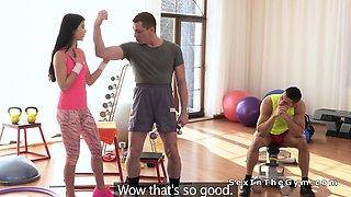 Slim brunette teen gangbanged at gym