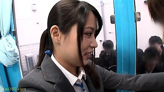 Adorable Asian schoolgirls satisfy their desire for cock
