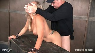 Aggressive stud fucks throat and pussy of juggy blonde Angel Allwood