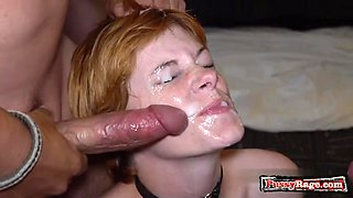 Hot pornstar bukkake with facial