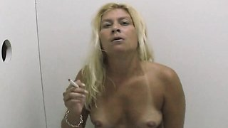 Blonde Amateur Smoking And Sucking Dicks At A Glory Hole