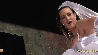 Horny Bride Tanya Cox eating cumshot after her wedding