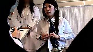 Beautiful Asian teen has her doctor gently fingering her ha