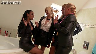 The most elegant babes doing the pussy examination in the bathroom