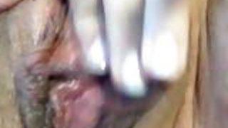 Krystal Geysers rubs clit for closeup orgasm