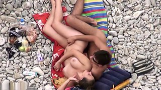 Nice looking broad nailed well in a beach public sex video