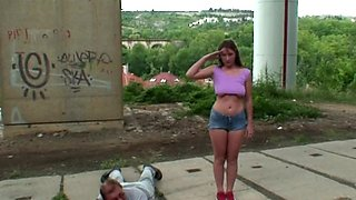 Horny old guy has anal sex outdoors with a buxom teen
