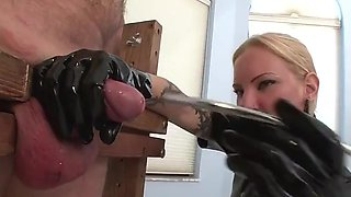 Blonde latex mistress sounding