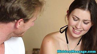 Cute babe gets piercedpussy fucked by masseur