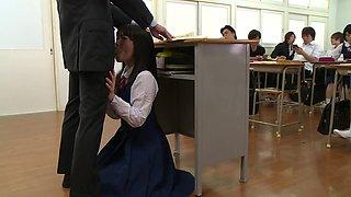 schoolgirl sucks off the teacher in front of the whole class