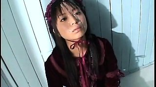 Lovely Japanese teen gets banged hard and covered in semen