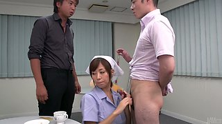 Nice Japanese waitress Chihiro Akino provides two dudes with awesome blowjob