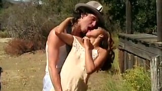 Gorgeous and young white girls on the farm get into wild lesbian action