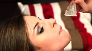 Frisky doll gets jizz load on her face swallowing all the ch