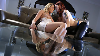 Slutty babes Bree n Mia fuck wildly at the poolside until they orgasm