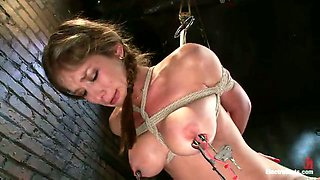 Pigtailed chick with juicy boobs is punished by horny mistress