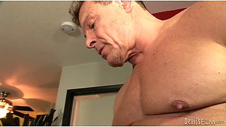 Wife with smeared makeup teaches husband how to suck juicy cock