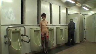 Naked Japanese girl fondled in men's toilet