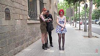 Redhead beauty Silvia Rubi abused in a public humiliation scene