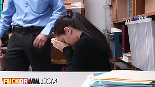small titted teen enjoys a firm drilling action at the office