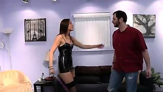 Busty dominatrix in lingerie has a passion for hardcore sex